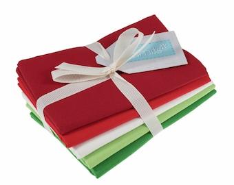 Christmas fat quarter bundle, 5 plain festive colours, 100% cotton quilting fabric