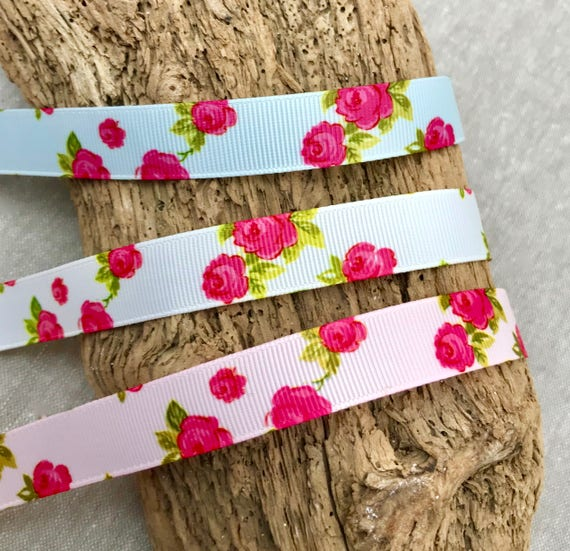 16mm Pink /& Green Flower//Checkered 3m Ribbon Printed Satin