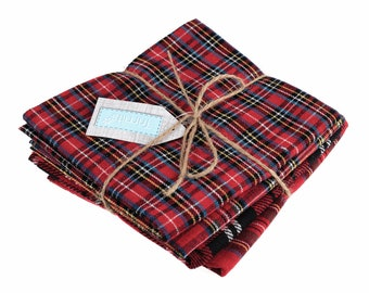 Christmas plaid / tartan fat quarters, 4 red and green festive fabrics for sewing, stockings and decorations