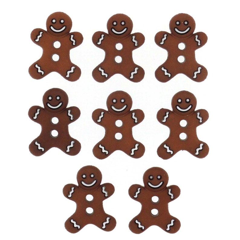 Iced Cookies DRESS IT UP BUTTONS ~ CHRISTMAS ~ 8 CUTE GINGERBREAD MEN
