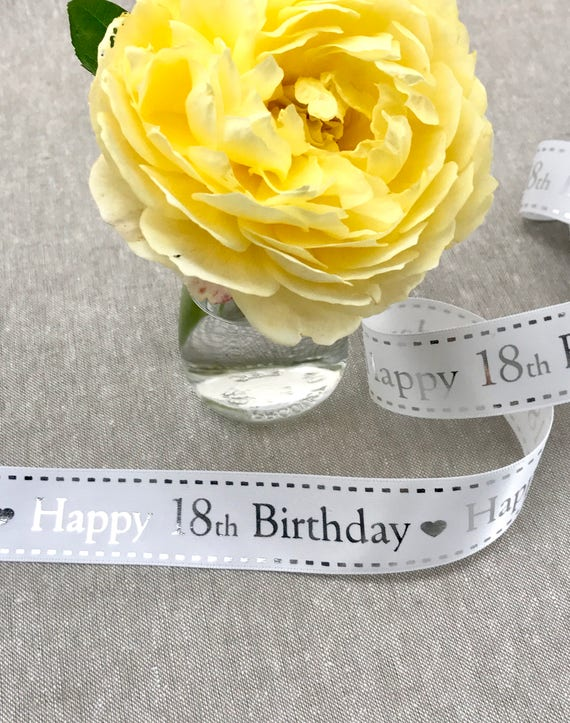 Beautiful Quality BERTIES BOWS 25mm White /& Silver HAPPY 60th BIRTHDAY Ribbon