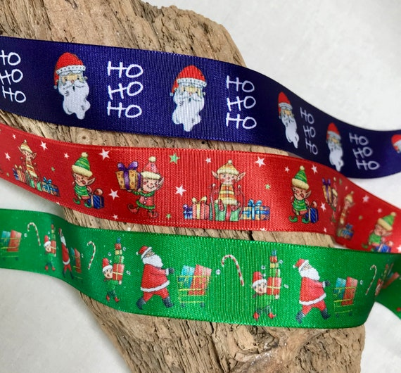 1M x Santa Reindeer Christmas GROSGRAIN RIBBON Craft Bow,Cake 25MM *UK*