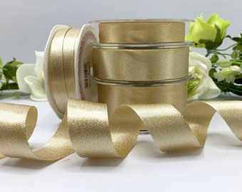 Gold sparkle satin ribbon, double faced shimmer trim in 4 widths for weddings, gift wrap, home decor and dressmaking