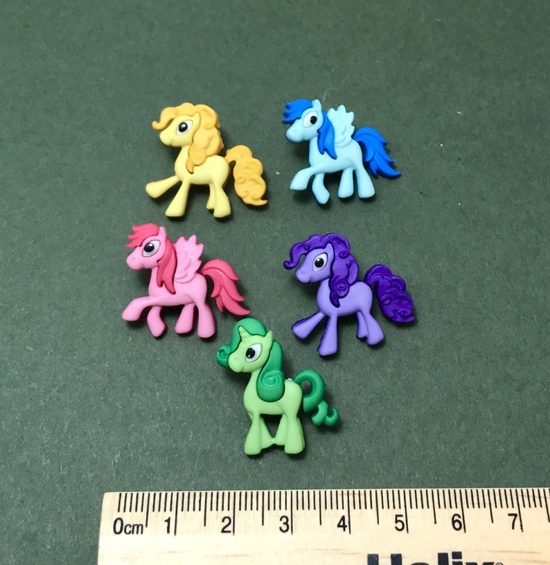 Pony Buttons - Horse Embellishment - Pretty Ponies - Unicorn Buttons -  Bright Buttons for Girls - Party Favors - Equine Scrapbook - Cute