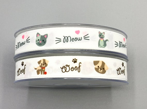15mm Christmas Cat Ribbon Cats Playing with Baubles Cute Cat Embellishment