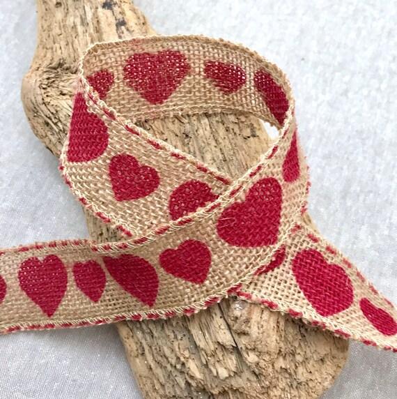 "Hessian Trim Red Heart Print Burlap Rustic Wedding 1 1//2/"" Valentine Ribbon"