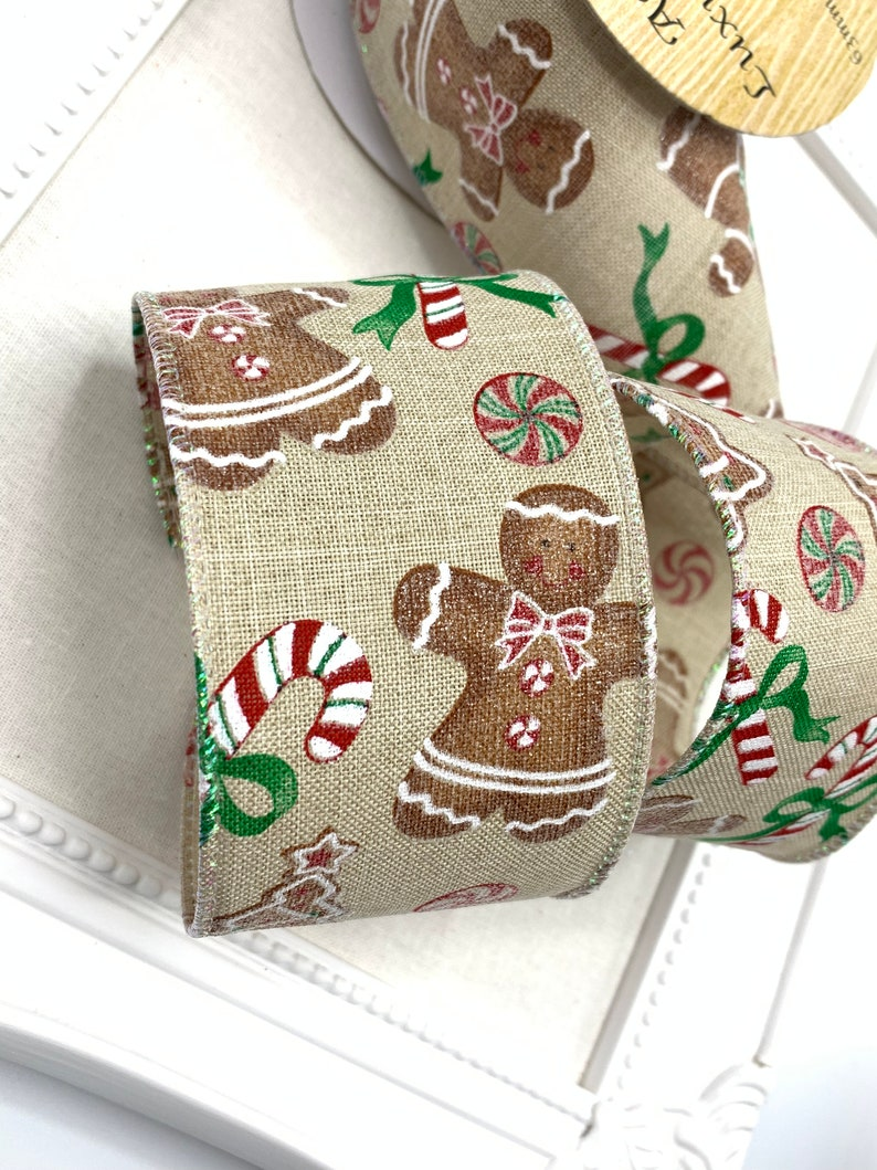 "2 1//2/"" Wired Hessian Merry Christmas Ribbon Garland Trim 63mm Wreath Bow"