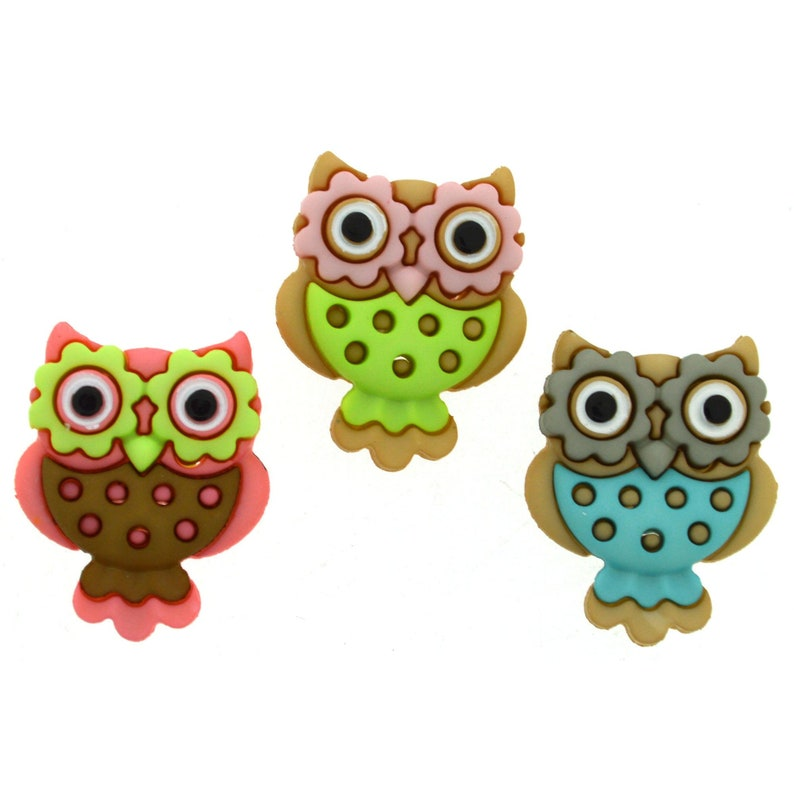 Novelty Buttons Cake Decorations Craft Project Sewing Childrens Buttons Owls