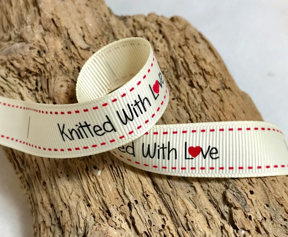 5m Sewn with Love White Ribbon Labels Available in 1m 10m and 25m Lengths