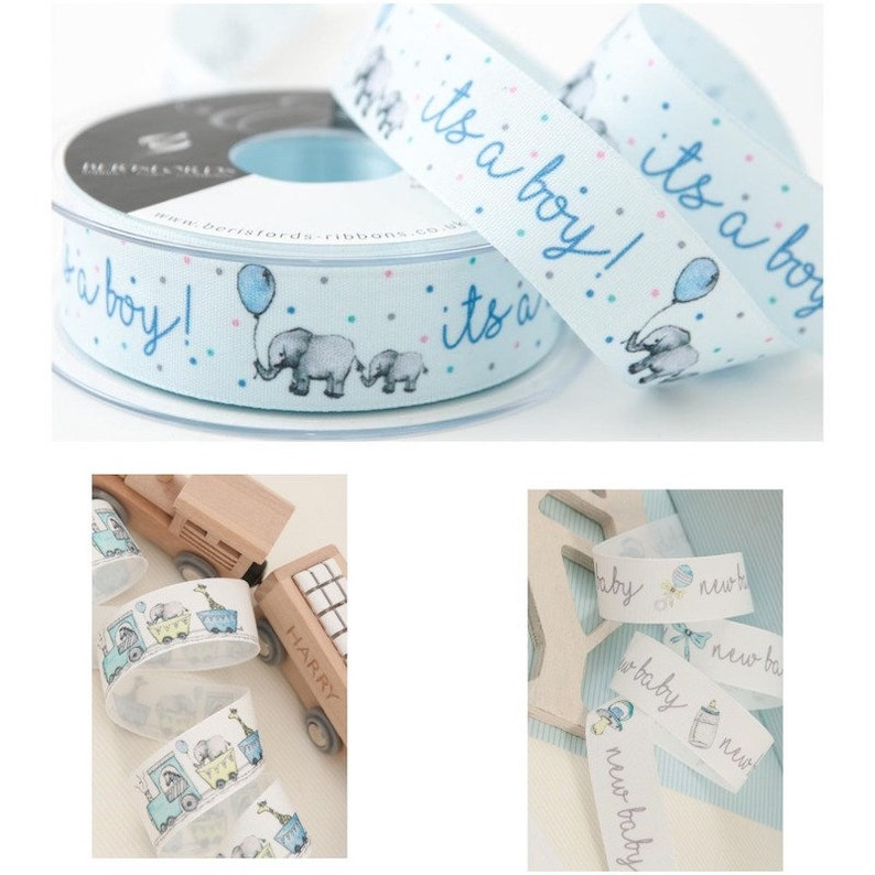 "Lovely 25mm 3m Satin Print /"" BABY /"" Boy Girl Ribbon Teddy Bear Shower Present"