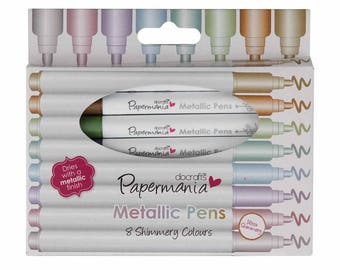Metallic Pens - 8 Shimmering Colours - Dries with a Metallic Finish - Silver Copper Gold Pink Purple Blue Green Light Green Metallic Markers