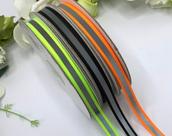 Hi vis tape, sew on reflective night safety trim for cycling, horse riding, school wear and pet safety - 10mm / 3/8 inch