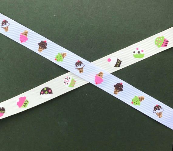 Berties Bows Ice Cream Grosgrain Ribbon 16mm 2 Colours Multi Item Savings