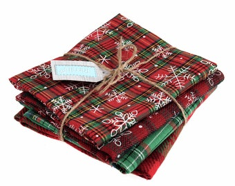 Christmas tartan / plaid fat quarter bundle, 4 red and green festive snowflake fabrics for sewing, stockings and decorations