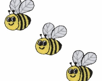 Bumble bee patches, 3 small iron on bee motifs, embroidered appliqued embellishment - 2.5cm / 1 inch