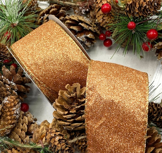 """5/"""" 10/"""" CLIP ON LUXURY WIRED CHRISTMAS TREE BOW   SPARKLY GOLD MESH WREATH GIFT"""