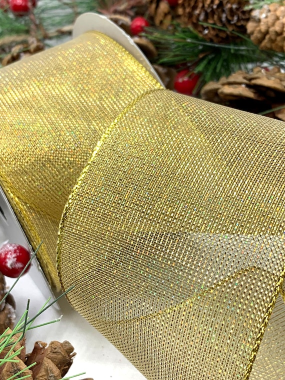 1m 63mm WIRED CHRISTMAS RIBBON WHITE /& SILVER STRIPE  florist tree florist bow