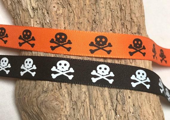 Skull /& Bat Grosgrain Ribbon 2.5cm  x 1 Metre Sewing//Crafts//Cake