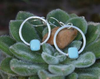 Handmade Sleeping Beauty Turquoise Sterling Silver Hoop Earrings