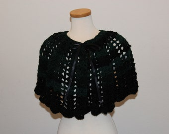 Crochet Green and Black Capelet, Lacy Green and Black Capelet, Capelet Green and Black, Capelet Lacy Black and Green