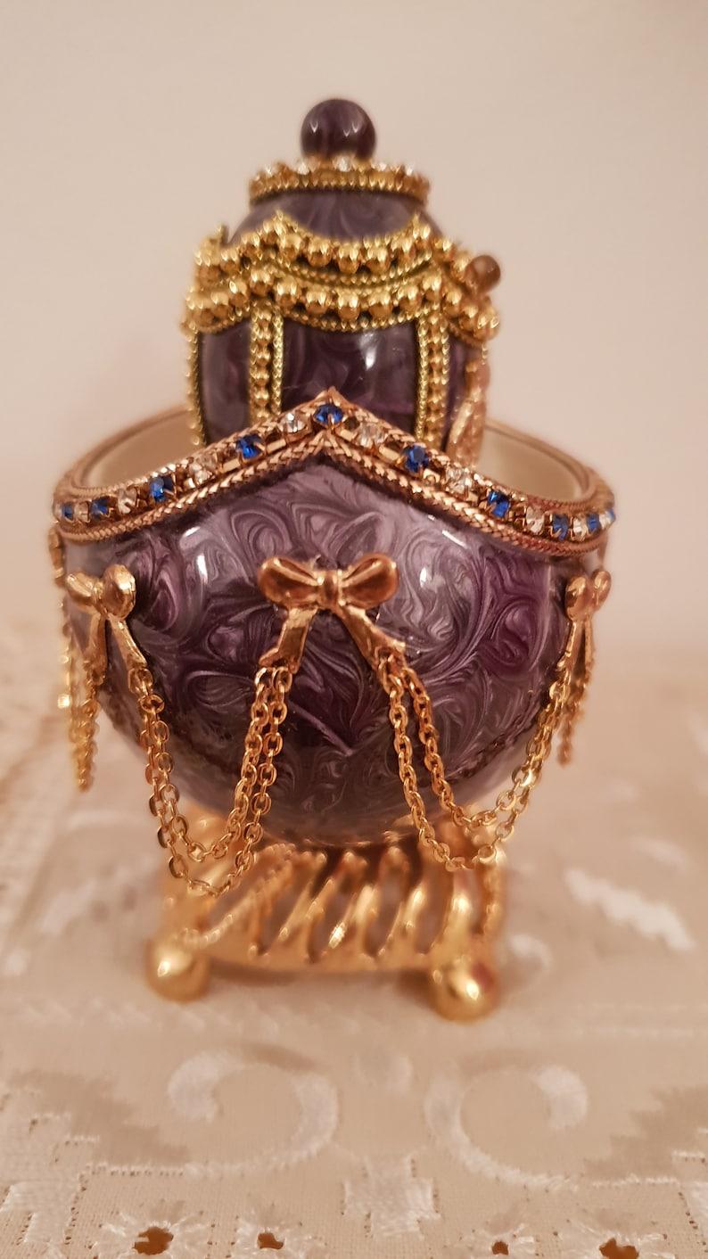 La Gondola Purple Faberge Egg style ornament  Ornate Ring Box Faberge style  Musical egg jewel box  russian style Gold Faberge egg style
