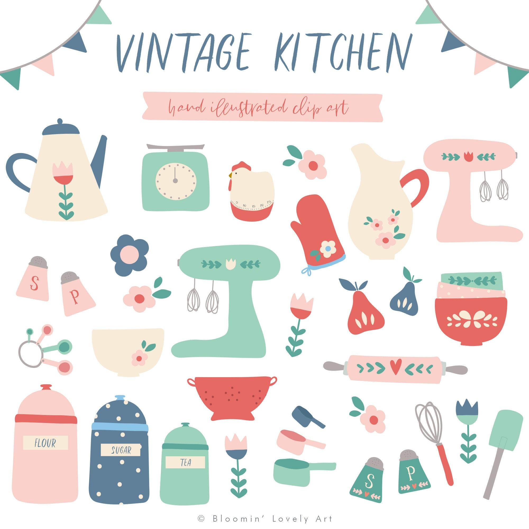 Retro Kitchen Illustration: Jahrgang Küche ClipArt Clip-Art Küche Clipart Küche