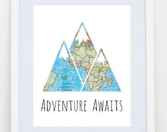 Adventure Awaits Mountain Digital Print