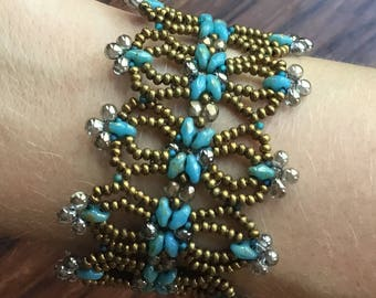 OOAK Vintage Lacy Turquoise and Bronze Bead-woven Bracelet