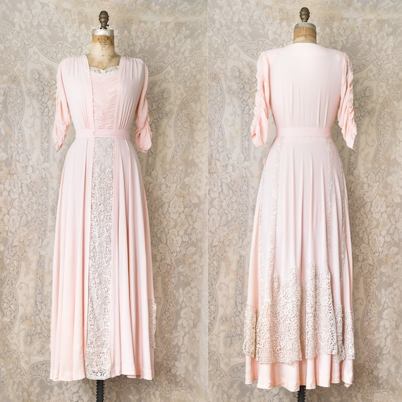 1940s Rayon Crepe Dress / 1930s Pink lace Gown / 1