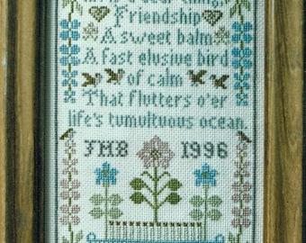 Sampler de l'amitié de Moira Blackburn compté motif/Diagramme point de croix