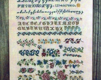 J Gebhard 1841 Reproduction Sampler by Cross-Point Designs Counted Cross Stitch Pattern/Chart
