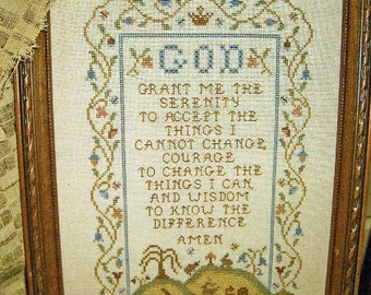 Serenity Prayer Sampler by Homespun Elegance Counted Cross Stitch Pattern/Chart