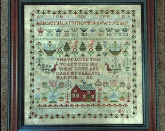 Christina Junor 1834 Reproduction Sampler by Victorian Rose Needlearts Counted Cross Stitch Pattern/Chart