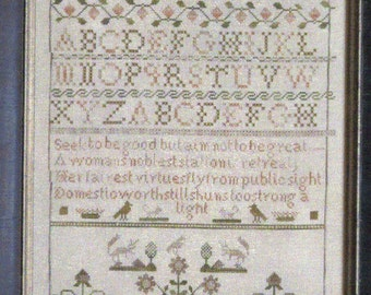 Elizabeth Milner 1848 Reproduction Sampler by Shakerspeare's Peddler Counted Cross Stitch Pattern/Chart