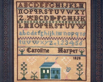 Caroline Harper 1828 Reproduction Sampler by Threads of Memory Counted Cross Stitch Pattern/Chart