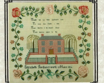 Elizabeth Jordon c 1841 Reproduction Sampler by Queenstown Samplers Counted Cross Stitch Pattern/Chart