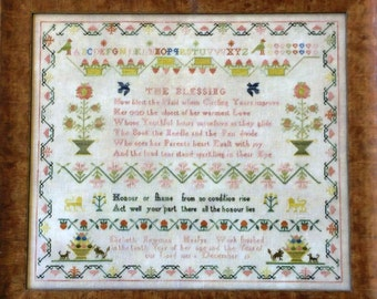 Elizabeth Newman Heafys 1802 Reproduction Sampler by Samplers Remembered Counted Cross Stitch Pattern/Chart
