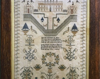 Queen's Palace Sarah Fealton 1840 Reproduction Sampler by Victorian Rose Needlearts Counted Cross Stitch Pattern/Chart