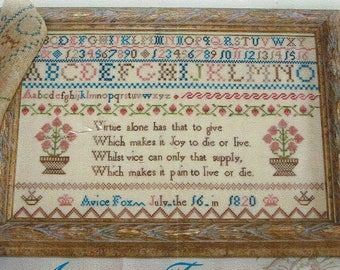 Avice Fox 1820 Reproduction  Sampler by Lindsay Lane Counted Cross Stitch Pattern/Chart