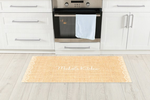 Personalized Natural Linen And Lace Like Kitchen Mat Shabby Etsy