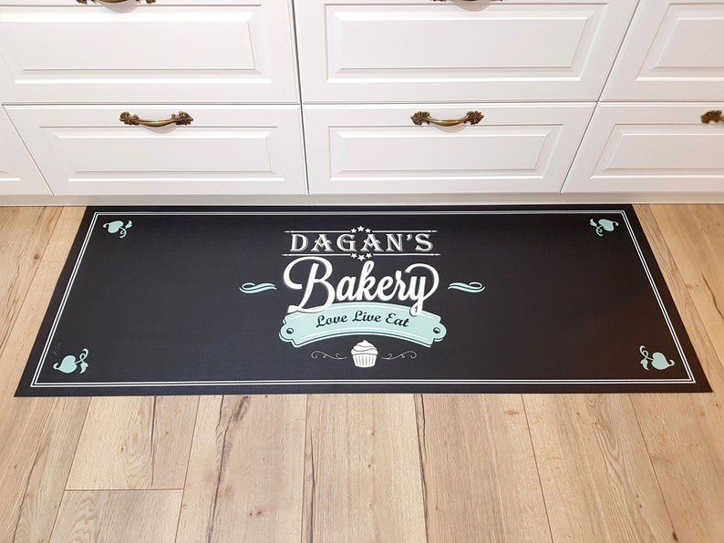 kitchen mats and rugs custom name personal design Linoleum Rug personalized gift Rugs and Mats Pvc vinyl kitchen mat personalized rug