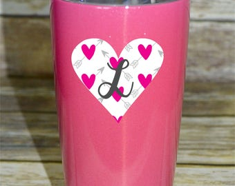 Heart Pattern Decal, Single Letter Monogram, cups, vinyl