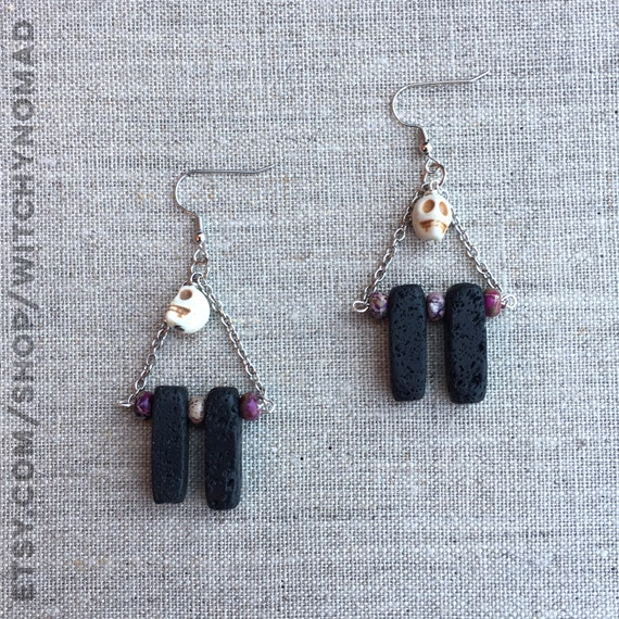 Lava and Skull Earrings