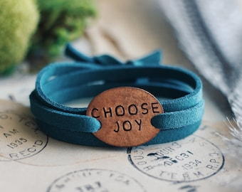Choose Joy Suede Wrap Bracelet, Mantra Bracelet, Yoga Jewelry, Inspirational Bracelet, Inspirational Jewelry, Mantra Jewelry, Yoga Bracelet,