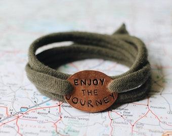 Enjoy The Journey Cloth Wrap Bracelet, Mantra Bracelet, Yoga Jewelry, Traveler Gift, Graduation Gift, Adventure Bracelet, Graduation Jewelry