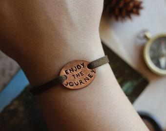 Enjoy The Journey Stacking Bracelet, Yoga Jewelry, Hiker Bracelet, Travel Gift, Adventure Bracelet, Graduation Jewelry, Graduation Gift,