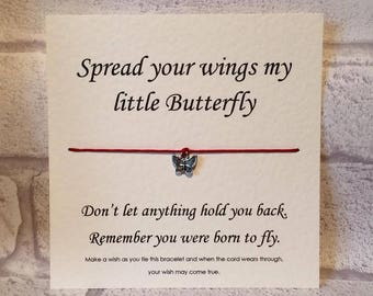 Wish Bracelet - Spread your wings my little butterfly - Motivational - Tibetan Silver Charm & Message Card - Friend Gift - Handmade By Erin