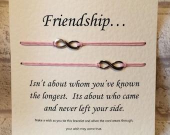 Double Wish Bracelet - Friendship - Tibetan Silver Charm & Message Card - Friend - Birthday - Anniversary - Gift - Handmade By Erin -