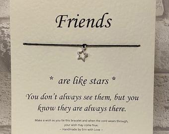 Wish Bracelet - Friends are like Stars - Tibetan Silver Charm & Message Card - Friendship - Birthday - Gift - Handmade By Erin -