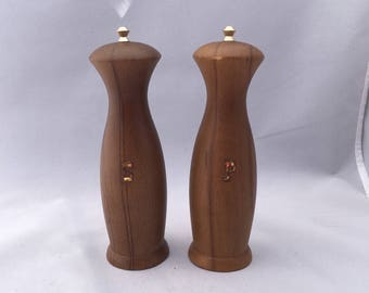 Mid century wooden 1960s salt and pepper shakers